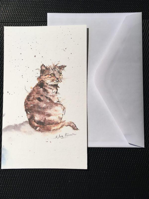 Carte rectangle le chat brun avec son enveloppe